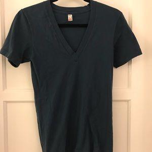AMERICAN apparel deep v neck shirt XS